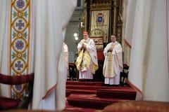 La masse de Pâques à la cathédrale de l'acceptation de Vierge Marie à Zagreb Photos libres de droits