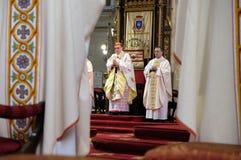 La masse de Pâques dans la cathédrale de Zagreb Photographie stock