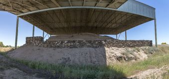 La Mata Tartessian site. West side with fortified wall and trench. La Mata, tartessian aristocratic building. West side with fortified wall and trench stock photos