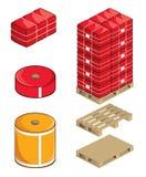 La materia textil rueda las balas y las paletas Imagen de archivo libre de regalías