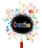 La matita creativa progetta l'illustrazione variopinta di concetto Fotografie Stock