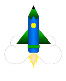 La matita Rocket Fotografie Stock Libere da Diritti