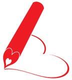 La matita rossa scrive il cuore Fotografie Stock Libere da Diritti