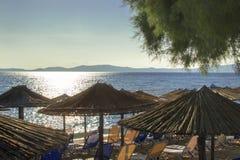 La mattina ad una spiaggia con le chaise-lounge sotto la palma lascia gli ombrelli Ierissos, Grecia Fotografia Stock