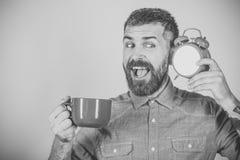 La mattina comincia con caffè Equipaggi il caffè o il tè di mattina della bevanda con la sveglia Fotografie Stock Libere da Diritti