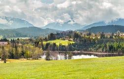La mattina del paesaggio bavarese Immagini Stock Libere da Diritti