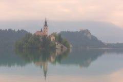 La mattina nebbiosa nel lago alpino ha sanguinato, la Slovenia Fotografia Stock