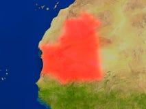 La Mauritanie de l'espace en rouge Photo stock