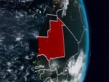 La Mauritanie de l'espace la nuit illustration stock