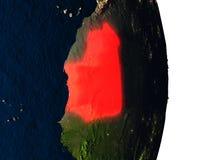 La Mauritanie de l'espace pendant le crépuscule Photographie stock libre de droits