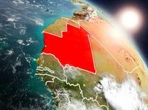 La Mauritanie de l'espace pendant le lever de soleil illustration libre de droits