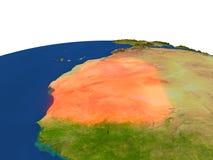 La Mauritanie en rouge d'orbite Image libre de droits