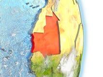 La Mauritanie en rouge sur terre Image libre de droits