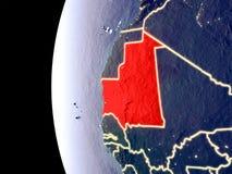 La Mauritanie sur le globe de l'espace illustration libre de droits