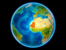 La Mauritanie sur terre de l'espace illustration de vecteur