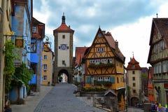 La mayoría de la vista famosa del der Tauber del ob de Rothenburg imagen de archivo libre de regalías