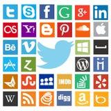 La mayoría de los iconos populares del web con el pájaro del gorjeo Fotos de archivo