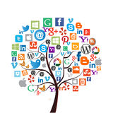 La mayoría de los iconos sociales populares de los medios/del web Foto de archivo libre de regalías
