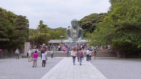 La mayoría de la señal famosa en Kamakura - gran Buda Daibutsu - TOKIO, JAPÓN - 12 de junio de 2018 almacen de metraje de vídeo