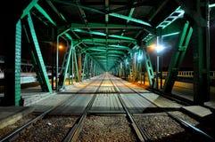 La mayoría del puente de GdaÅski/de Gdanski por noche Foto de archivo