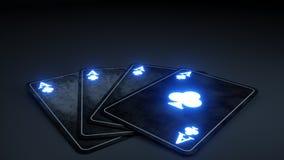 La mazza di gioco del casinò carda il concetto con al neon d'ardore isolata sui precedenti neri, il simbolo dei club - l'illustra royalty illustrazione gratis