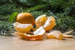 La medias cáscara y rebanadas peladas las mandarinas con descensos del jugo mienten delante de ramas spruce en una tabla anaranja Fotos de archivo