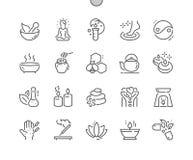 La medicina alternativa Bien-hizo la línea fina rejilla 2x de los iconos 30 del vector a mano perfecto del pixel para los gráfico libre illustration