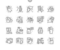 La medicina Bien-hizo la línea fina rejilla 2x de los iconos 30 del vector a mano perfecto del pixel para los gráficos y Apps del Fotos de archivo