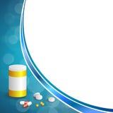 La medicina blanca azul abstracta del fondo hace tabletas el ejemplo amarillo plástico del marco de los paquetes de la botella de Foto de archivo libre de regalías