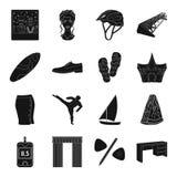 La medicina, el deporte, la boda y el otro icono del web en estilo negro ilustración del vector
