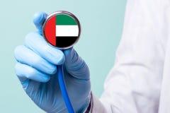La medicina en United Arab Emirates es libre y pagada Seguro médico costoso Tratamiento de la enfermedad en el del más alto nivel Imagen de archivo libre de regalías