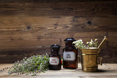 La medicina, las hierbas y las medicinas naturales antiguas Fotos de archivo libres de regalías