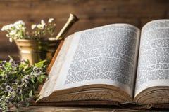 La medicina, le erbe e le medicine naturali antiche Fotografia Stock