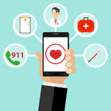 La medicina mobile, chiama il medico a casa, medicine, un medico della valigia illustrazione di stock
