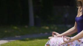 La meditación al aire libre en la actitud del loto, mujer se sienta relajado profundamente siente la unidad del mundo almacen de metraje de vídeo