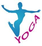 La meditación de la muchacha de la yoga se divierte la figura azul Fotos de archivo