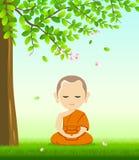 La meditazione di Buddhism del monaco si siede il vettore, su erba illustrazione di stock
