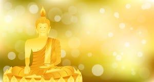 La meditazione di seduta di Buddha di phra del monaco sulla base del loto dell'oro per prega il rilascio composto concentrazione  illustrazione di stock