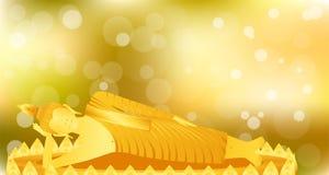 La meditazione di sonno di Buddha di phra del monaco sulla base del loto dell'oro per prega il rilascio composto concentrazione P royalty illustrazione gratis
