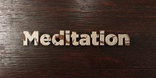 La meditazione - titolo di legno grungy sull'acero - 3D ha reso l'immagine di riserva libera della sovranità royalty illustrazione gratis