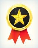 La meilleure étiquette d'or bien choisie d'étoile de vecteur avec des bandes Photo libre de droits