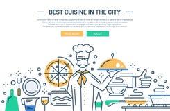 La meilleure cuisine dans la ville - rayez la bannière de site Web de conception Image libre de droits