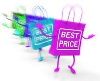 La meilleure exposition de paniers des prix s'occupe sur des marchandises et des produits Images stock
