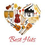 La meilleure icône de vecteur de coeur de coups des instruments de musique Images libres de droits