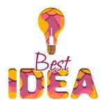 la meilleure idée de l'inscription 3d et l'ampoule ont coupé du papier Illustration de niveau multi illustration libre de droits