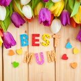 La meilleure maman écrite dans les lettres multicolores Images libres de droits