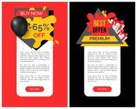 La meilleure remise et les produits, bannière de vente de 65 pour cent illustration stock