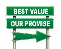 La meilleure valeur notre panneau routier de vert de promesse Photographie stock libre de droits