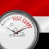 La mejor época para la visita Egipto Reloj blanco del vector con lema Fondo egipcio de la bandera Reloj analogico Icono de la esf stock de ilustración