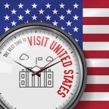 La mejor época para la visita Estados Unidos Reloj del vector con lema Fondo del indicador de los E Reloj analogico Icono blanco  libre illustration